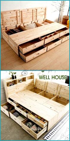 Trendy DIY Making a Pallet Bed Projects Try these pallet bed frame ideas to Inspire your daily pallet wood recycling to make easy pallet projects! Try to get free pallets to make your bed! Wood Pallet Beds, Diy Pallet Bed, Wooden Pallet Furniture, Diy Pallet Projects, Furniture Projects, Wood Pallets, Furniture Making, Home Furniture, Pallet Ideas