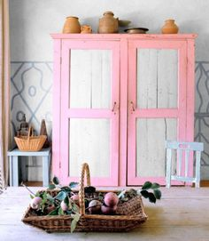 Pink, White, and Blue   Painted Trimcountryliving