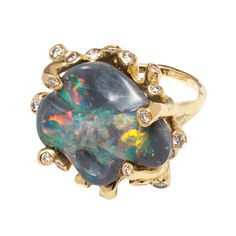 YELLOW GOLD, AUSTRALIAN OPAL AND DIAMOND 'SEA ANEMONE' RING BY KIMBERLIN BROWN MATERIAL: 18k Yellow Gold  GEMSTONE: Australian Opal, Diamond (.5 TCW)  ORIGIN: New York, USA
