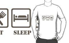 'Eat sleep fish' T-Shirt by handcraftline Eat Sleep, Graphic Sweatshirt, T Shirt, Fishing, Sweatshirts, Tees, Stuff To Buy, Design, Supreme T Shirt