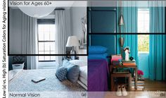 #Design. Choosing color for #aging clients? Vibrant colors remain fairly vibrant while duller blues turn to grays to the aging eye. #Design via colourstudio.com