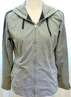 Gray Liz Claiborne Liz & Co. Hoodie Jacket Zip Front Long Striped Sleeve Size S #LizClaiborne #Hoodie