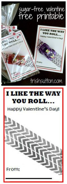 """I Like The Way You Roll"" a Sugar-Free Kid's Valentine to share with classmates; Free Printable by TrishSutton.com"