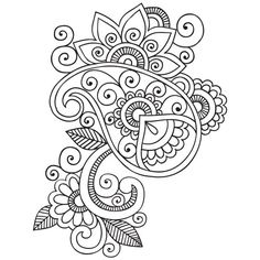 Flor garabatos Cliparts imágenes prediseñadas de por VipARTVector Heart Coloring Pages, Mandala Coloring Pages, Colouring Pages, Adult Coloring Pages, Coloring Books, Paisley Art, Paisley Design, Paisley Doodle, Paisley Pattern