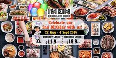I'm KIM Korean BBQ Singapore 2nd Birthday Promotion 22 Aug to 4 Sep 2016
