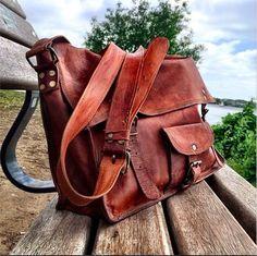 "Large Leather Satchel 17"""
