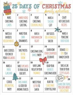 Christmas Countdown Calendar of Fun Family Activities- Printable Have. Christmas Countdown Calendar of Fun Family Activities- Printable Have the best holiday Christmas season e 25 Days Of Christmas, Christmas Games, Christmas Decorations, Christmas List Ideas, Christmas Checklist, Good Christmas Gifts, Christmas Things To Do, Christmas Activites, Christmas Movies List