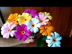 Paper flowers - Zinnia - YouTube