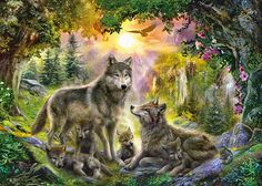 Buy Ravensburger: Wolf Family in Sunshine - Puzzle at Mighty Ape NZ. Ravensburger, the puzzle expert for over 130 years, uses exclusively-developed materials, hand-crafted precision tools and meticulous quality control . Anime Wolf, Fantasy Paintings, Your Paintings, Puzzle Ravensburger, Family Wall Art, Family Print, Poster Online, Wolf Spirit, Illustration