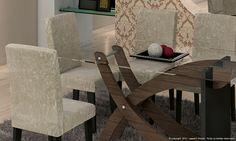 Conjunto para Sala de Jantar com Mesa com tampo de vidro e 6 Cadeiras Carvalho/Preto/Suede Amassado Capuccino - Cimol   Lojas KD