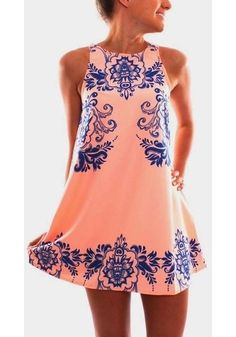 Pink Flowers Print Round Neck Sleeveless Chiffon Dress - Mini Dresses - Dresses