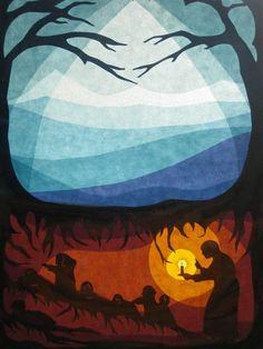 Mutter Erde und die Wurzel Kinder im Winter
