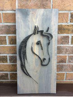 My handmade string art of a horse head! Available on my Etsy shop NailedITCA Handmade Furniture - String Wall Art, Nail String Art, String Crafts, Resin Crafts, Handmade Furniture, Handmade Home Decor, Handmade Headboards, Diy And Crafts, Arts And Crafts