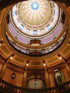 Interior of Michigan Capitol dome.