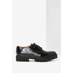 Jeffrey Campbell Seymour Leather Oxford Shoe (640 MYR) ❤ liked on Polyvore featuring shoes, oxfords, black brogues, leather brogues, platform oxfords, platform shoes and lace up shoes
