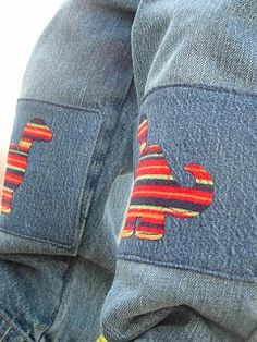 Dinosaur Patches - Adorable!    Pieces by Polly: Dino Knee Patches Tutorial - Hand-Me-Down REHAB