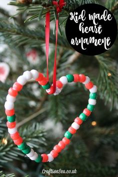 Easy Heart Christmas Ornaments For Kids + Tree Review - Crafts on Sea