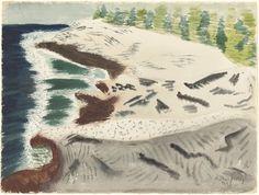 Milton Avery, Sea and Rocky Shore, 1948, watercolor over graphite