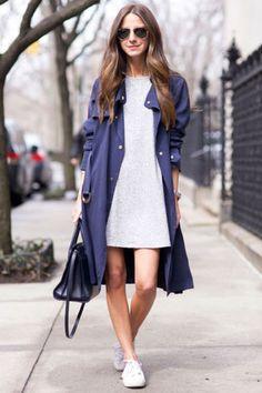 さわやかなネイビーのコートがテロンチだとさらに軽やかにこんなにもリラックス感溢れる印象になります。ラフなスウェットワンピースと白スニーカーのカジュアルな組み合わせも上品に仕上がります。