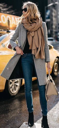 #winter #outfits black shirt, grey long jacket, jeans, black boots, beige scarf