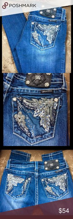 Miss Me Skinny Stretch Distressed - Rhinestones Practically new, only wore a few times. Miss Me Skinny Stretch Jeans with Rhinestones & Studs. Size 25. Inseam approx 31. Naturally distressed. May have a few small stones missing? Super cute and comfortable!! Miss Me Jeans Skinny