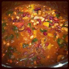 Dreamin' In Health Three Bean Chili (Talia Fuhrman) Vegan Recipes Plant Based, Raw Vegan Recipes, Vegetarian Recipes, Healthy Recipes, Healthy Soups, Paleo, Dr. Oz, Plant Based Whole Foods, Plant Based Diet