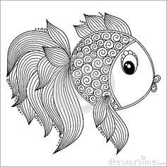 Modèle Pour Livre De Coloriage Poissons Mignons De Dessin Animé Illustration de Vecteur - Image: 62050325