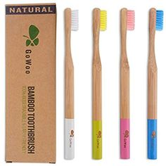 GoWoo 100% Natural Bamboo Toothbrush Soft – Organic Eco Friendly Toothbrushes With Soft Nylon Bristles, BPA-Free, Biodegradable, Dental Care Set for Men and Women, Pack Of 4, Candy Color