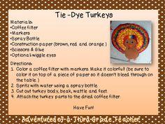 Adventures of a Third Grade Teacher: Tie-Dye Turkeys