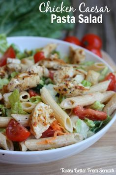 This chicken Caesar pasta salad is literally amazing! Gets requested by friends and family the entire summer long!