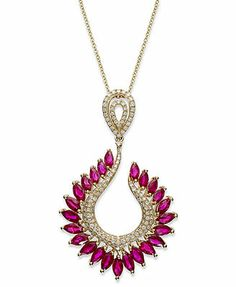 Gemma by EFFY Ruby (4-3/8 ct. t.w.) and Diamond (1/2 ct. t.w.) Leaf Pendant in 14k Gold