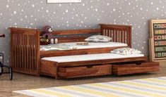 Buy Sierra Kids Trundle Bed With Storage Online in India - Wooden Street