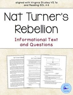 Nat Turner's Rebellion Reading and Questions (VS.7a) | Virginia ...