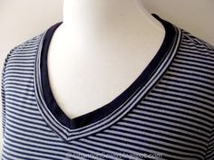 Easy way to fix a low t-shirt neckline: add knit binding