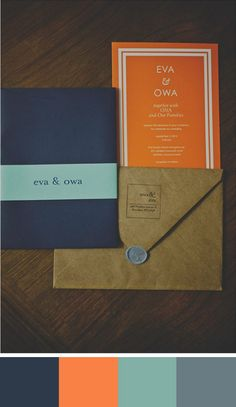 In this wedding stationery navy blue adds a sophisticated and classic touch while orange adds a contemporary flair. Source: wedding chicks. #weddingstationery #celosiaorange #colorpalette