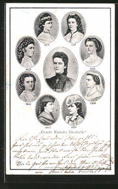Alte Ansichtskarte: AK Kaiserin Elisabeth (Sissi) von Österreich, Porträts in versch. Lebensaltern 1847-1898