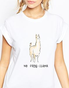 Image 3 of ASOS T-Shirt In Longline With No Prob-Llama Print