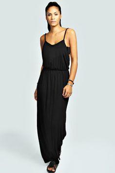 Talia Strappy Back Bagged Over Maxi Dress at boohoo.com