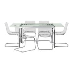 GLIVARP/TOBIAS Table and 6 chairs - IKEA For the 'ice room' (aka futuristic, sleek, see-through decor'd spare)