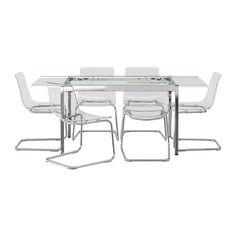 GLIVARP / TOBIAS Tisch und 6 Stühle, transparent, transparent