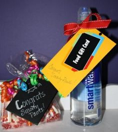 Smart water with grad cap top and a gift card or money holder for a Graduation Gift
