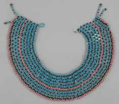 Necklace, South Africa PEOPLE:South Nguni (Xhosa?) PERIOD:Late 19th to early 20th century DATE:1899 - 1902 DIMENSIONS:L 7 cm x W 34 cm MATERIALS:Glass TECHNIQUES:Beadwork. Beaded Jewelry, Beaded Necklace, Necklaces, Africa People, Xhosa, African Trade Beads, Beading, Beadwork, Necklace Types