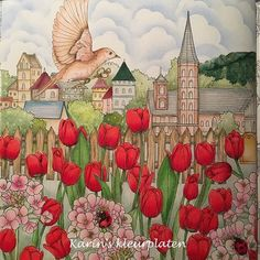 #rhapsodyintheforest #prismacolor #luminance #carandache #tulips #colouringbook…