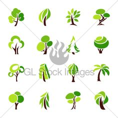 Trees. Collection Of Design Elements. Vector Lo...