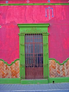 Pink and green building exterior