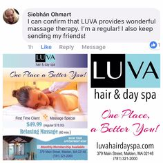 Like our lovely Siobhan Take a Me, Myself and I time with a massage at LUVA Hair Day Spa. Thank you for your nice review and support. 1st 1hr Relax Massage $49.99 Call 781.321.2000, text 857.415.9430 Walk-Ins welcome. http://www.luvahairdayspa.com/ For LUVA's Yelp page click here  https://www.yelp.com/biz/luva-hair-and-day-spa-malden #healthy #cool #good #beauty #wellness #luvahairdayspa #oneplacebetteryou #relax #decompress #lunchbreak #sports #celebrate #fitness #amazing #motivation