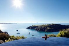 An infinity pool with an infinite view, at Delamore Lodge on Waiheke Island, in the Hauraki Gulf, #NewZealand. #Flights to New Zealand are available starting from just £656 only.