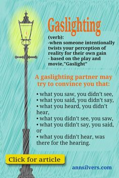 What is gaslighting in abusive relationships infographic and blog post. Click t...