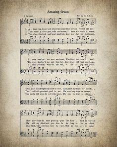 Amazing Grace Hymn Lyrics  Sheet Music Art  by VintageArtRevived