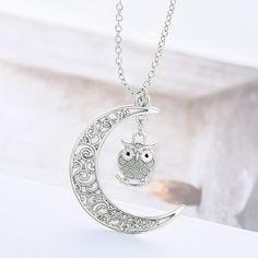 Moon Owl Glow in Dark Pendant Necklace Opal Birthstone, Birthstone Necklace, Locket Necklace, Jewelry Necklaces, Pendant Necklace, Kendra Scott Drusy Necklace, Jewelry Stand, Green Necklace, Necklace Sizes